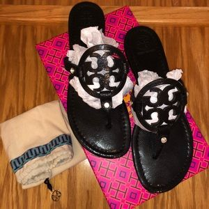 Black Twinkle Suede Tory Burch Miller Sandals ✨